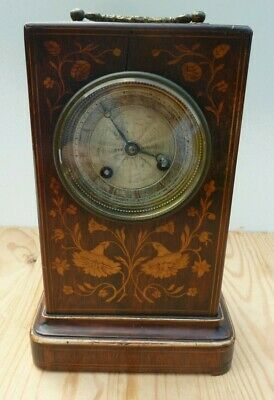 Rosewood Marquetry Pendule D'Officier French Mantel Clock - Restoration Project