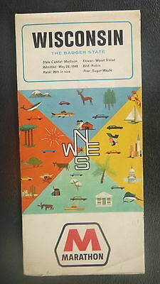 1966 Wisconsin  road map Marathon  oil gas oil can