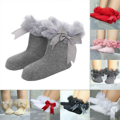 Bowknot Sock Princess Infant Ruffle Frilly Baby Girls Kids Lace Socks Trim Ankle
