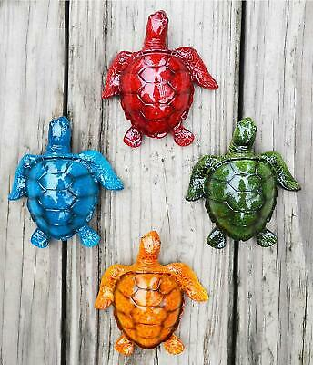 GIFTME-5 Cute Sea Turtles Wall Decor Set of 4 Indoor Outdoor Resin Wall Decor