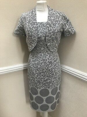 Kaliko Size 14 2 Piece Mother Bride Grey Silver Floral Leaf Print Dress Jacket