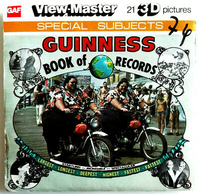 """3x VIEW MASTER REEL """" GUINNESS BOOK of RECORDS """" + BOOKLET / SPECIAL SUBJECTS"""