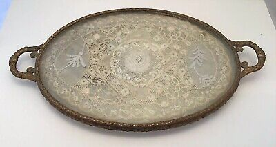 French Vintage Footed Brass &Antique Lace Vanity Tray Perfume Lincoln Hotel Neb.