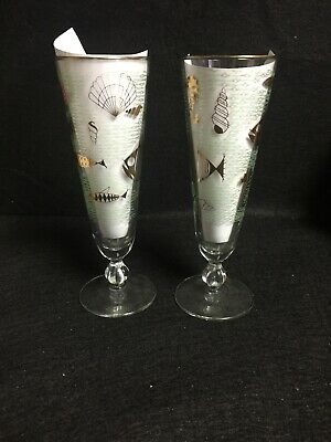 "2 Mid Century Pilsner Atomic Fish Glasses Gold Teal 8 1/2"" Seahorses MCM D1"