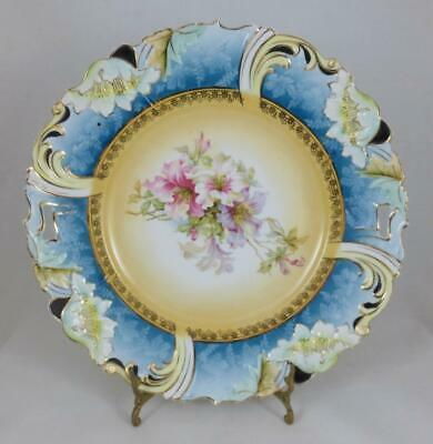 "Vintage GERMANY SAXE ALTENBURG 10.5"" Floral Cake Plate - R S Prussia Style"