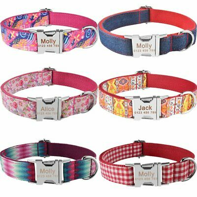 Red Floral Small Large Pet Personalized Dog Collar Puppy Tag Name Free Engraved