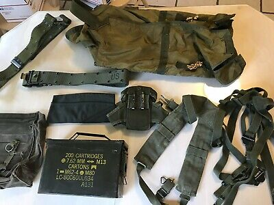 Vintage Junk Drawer Military Can Pouch Belt Parachute Bag Lot
