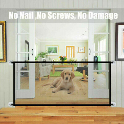Portable Magic Mesh Pet Dog Cat Gate Door Barrier Safe Net Guard Install Fence