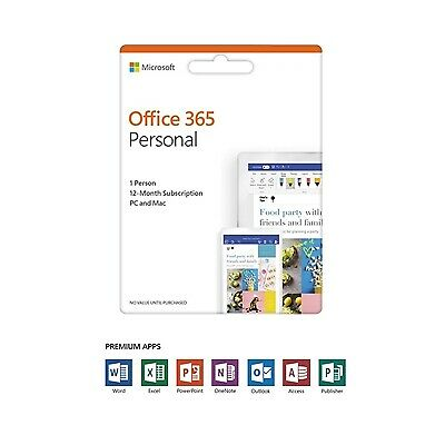 NEW! Office 365 Personal 2019 English Eurozone Subscription 1 Year Medialess