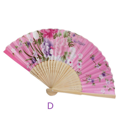 Bamboo Rods Blossoming Fabric Floral Pattern Folding Hand Fan White Q6C3