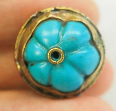 Antique Sky Blue Melon  Turquoise Gold Plated  Capped Pumpkin Bead Pendant