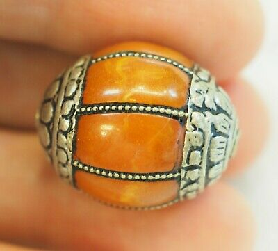 Antique Amber Melon Carved Sterling Silver Capped Nepalese Bead Pendant