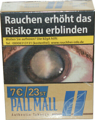 8 x Pall Mall Authentic Tabacco Zigaretten Blue 8x23=184  Preis  7,00€