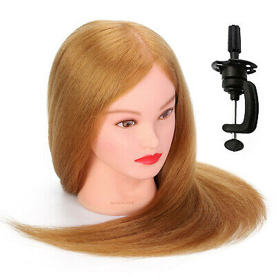22'' Salon 80% Real Human Hair Hairdressing Training Head Mannequin With Clamp