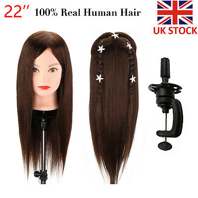 """22"""" Hairdressing Training Head 80% Real Hair Practice Styling Mannequin+Clamp UK"""