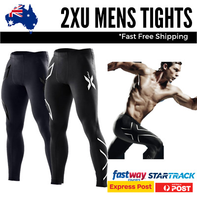 2XU Mens Tights Full Length Compression Skins Cycle Gym Silver Black Blue Gold