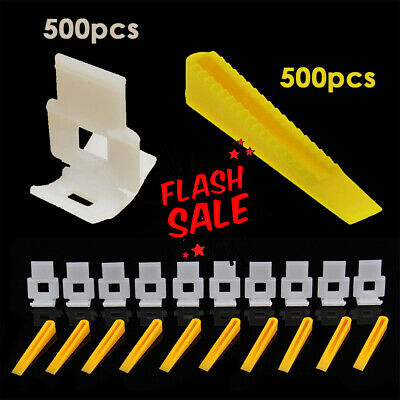 1000 Tile Leveling Spacer 500 Clips + 500 Wedges Flooring Level Lip page Set UK