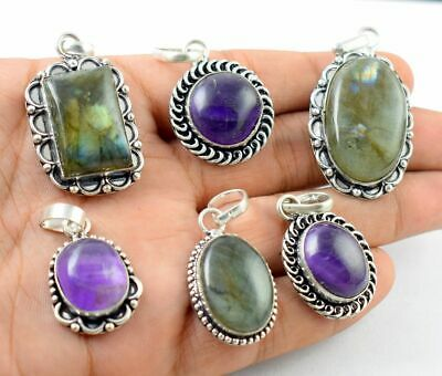 Amethyst & Mix Stone 925 Sterling Silver Plated Pendants Lot 4 Pcs MX17-512