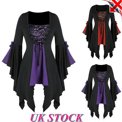 Womens Gothic Steampunk Dress Halloween Party Cosplay Costume Victorian Retro UK