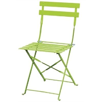 Bolero Pavement Style Steel Chairs Green (Pack of 2) GH552 Indoor Outdoor
