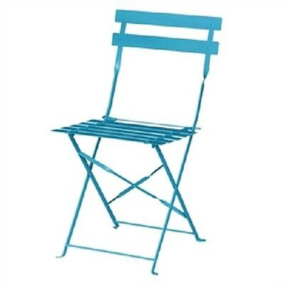 Bolero Blue Pavement Style Steel Chairs (Pack of 2)  Terrace Patio Cafe GK982