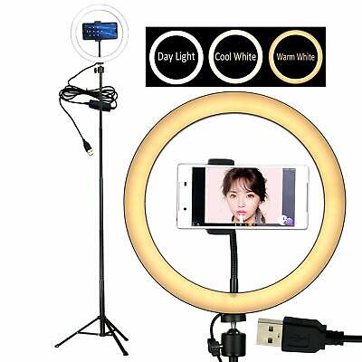 "10"" Selfie LED Ring Light with Tripod Stand &Cell Phone Holder Desktop Lamp M..."