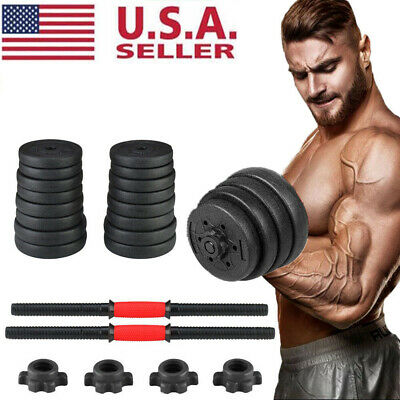 Empty Dumbbell Adjustable Weight Set Plastic Fitness GYM Barbell Plates Workout
