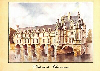 CP Postcard Illustration Michel Perréard Castle of Chenonceau