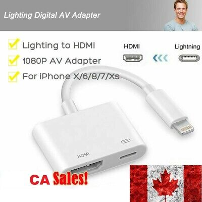 Lighting to HDMI Adapter Cable Digital AV TV 1080P For iPhon 6/7/8 Plus iPad CA