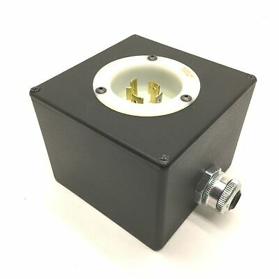 Hubbell HBL2415 20A, 125/250V, 3 Pole Turn-Locking Male Receptacle & Enclosure
