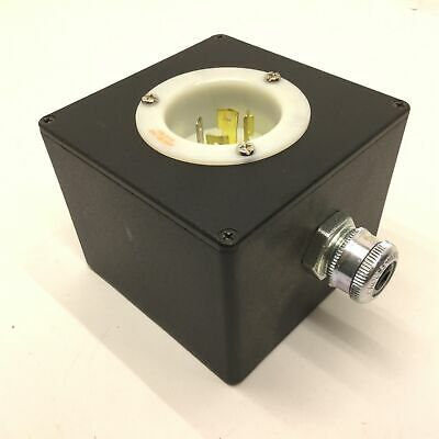 Hubbell HBL2415 20A, 125/250V Turn-Locking Male Receptacle & Enclosure *8 Holes*