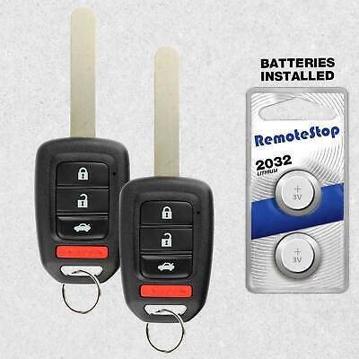 2 For 2014 2015 2016 2017 Honda Accord Civic CR-V Keyless Car Remote Key Fob