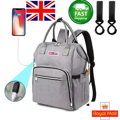 Baby Diaper Nappy Changing Mummy Bag Rucksack Hospital Maternity Backpack GREY