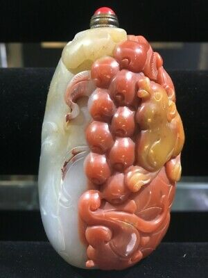 Chinese Carved Cornelian Snuff Bottle mid C20th