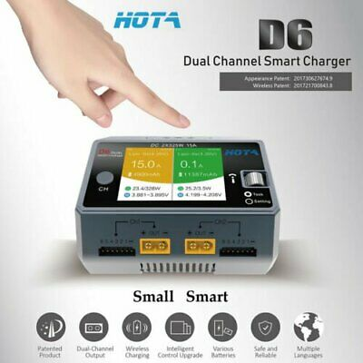 HOTA D6 Dual Channel Smart Charger 2*DC325W 15A for Lipo NiMH Battery Phone AU