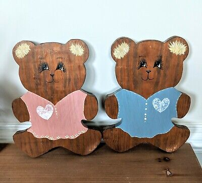 Wooden Teddy Bear Wall Hanging Plaque Nursery Baby Toddler Boy Girl with mounts