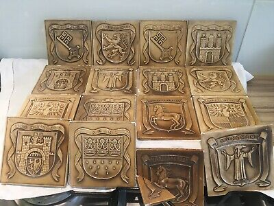 16 Antique Vintage Glazed Ceramic German City Heraldic Wall Tiles Ypsilon Modell