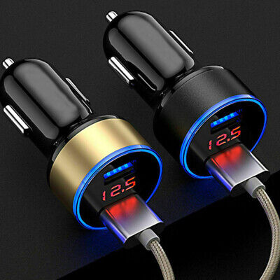 Car Charger Double USB Twin 2 Port Dual 12-24V Cigarette Socket Black Socket