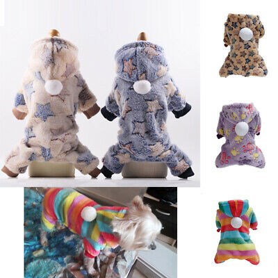 Pet Soft Fleece Dog Jumpsuit Winter Warm Dog Clothes Puppy Outfits Hoodie