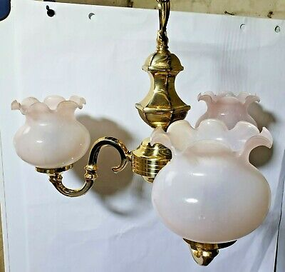Vintage Solid Brass Matching 3 arm Chandelier, 2 x 2 arm Wall lights and shades