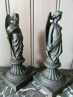 Lovely French Original Antique Cast-Iron Pair Of Statues Angels