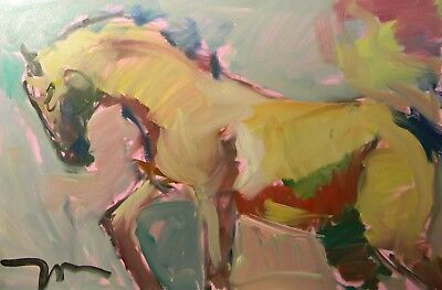 "Jose Trujillo - Modern Large 24X36"" Oil Painting Horse Equestrian Abstract Decor"