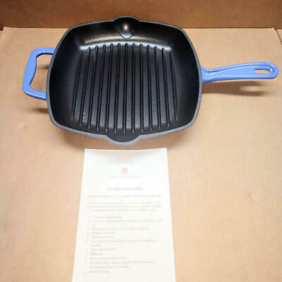 "Cook's Essentials 11"" Square Cast-Iron Grill Pan Blue"