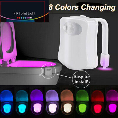Motion Sensor LED 8 Colors Toilet Bowl Night Light Seat Lamp Kids Bathroom Safe