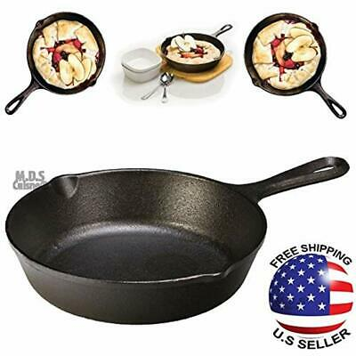 "Cast Cookware Iron 7.75"" Pre Seasoned Fry Pan Skillet Camping Heavy Duty NEW"