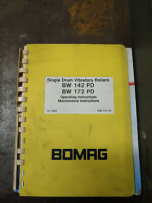 Bomag Bw142Pd Bw172Pd Operating/Maintenance Instructions 00814476