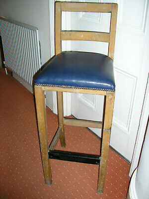 Vintage Antique Very Tall Wooden Bar Stool Chair Seat Height 83 Cms
