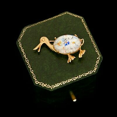 Antique Vintage Deco Retro 14k Gold Venetian Glass Jelly Belly Duck Pin Brooch