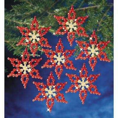 "Holiday Beaded Ornament Kit POINSETTIAS Christmas Ornaments 3.5"" Makes 6"