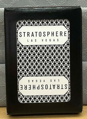 Stratosphere (Black) Used Casino Poker Size Playing Cards - Used, Resealed Deck